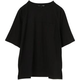 【オンワード】 Green Parks(グリーンパークス) ・ポケット付5分袖ワイドラグランTシャツ Black F レディース 【送料無料】