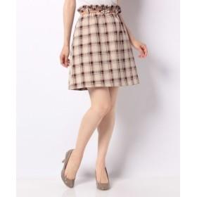 (allamanda/アラマンダ)ベルト付き台形スカート/レディース オフホワイト×ブラウン