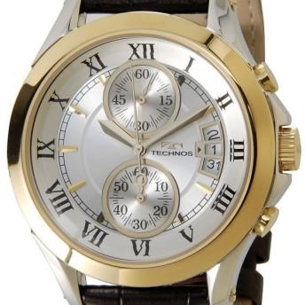 テクノス T4346GS TECHNOS クロノグラフ デイト 10気圧防水 ゴールド メンズ 腕時計