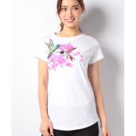 (SISLEY/シスレー)スパンコールビジュー付き半袖Tシャツ・カットソー/レディース ホワイト