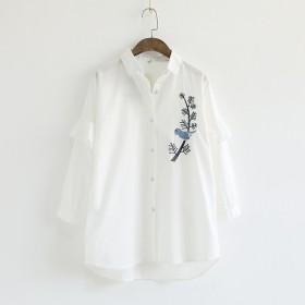 鳥 ツバメ 刺繍 シャツ