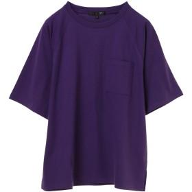 【オンワード】 Green Parks(グリーンパークス) ・ポケット付5分袖ワイドラグランTシャツ Purple F レディース 【送料無料】