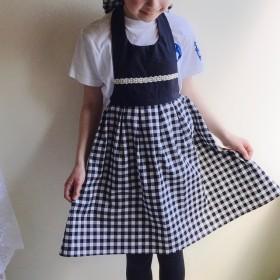 小学生 子どもエプロン大人可愛いモノトーンエプロン(ギンガムチェック)130-140cm 150cm