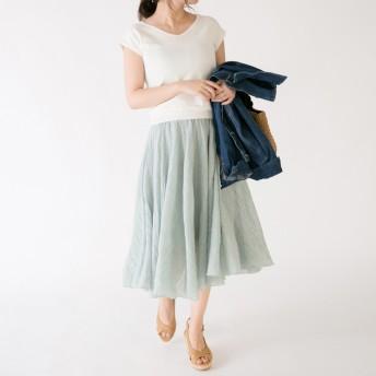 ひざ丈スカート - karei フレアロングスカート リネン風 フレア スカート ボリューム ふんわり 麻風 ナチュラル シワ感 スカート マキシ 体型カバー 大人カジュアル レディース