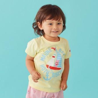 ミキハウス 【アウトレット】ヨット&イカリかすれプリント半袖Tシャツ コーン