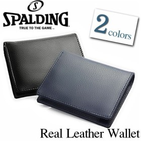 SPALDING スポルディング メンズ 二つ折り財布 牛革 レザー 小銭入れ付き ブラック ネイビー ウォレット ショート