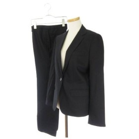 【中古】オンリー ONLY スーツ セットアップ パンツ ストライプ ウール シルク 7 黒 ブラック YMD amy0227 レディース【ベクトル