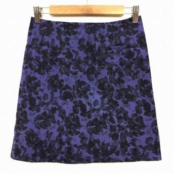 【中古】スピック&スパン ノーブル Spick&Span Noble スカート ミニ 台形 花柄 ストレッチ 36 紫 パープル BBB レディース【