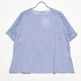 カンカン KANKAN フラワー手刺繍コットンプルオーバー (サックス)