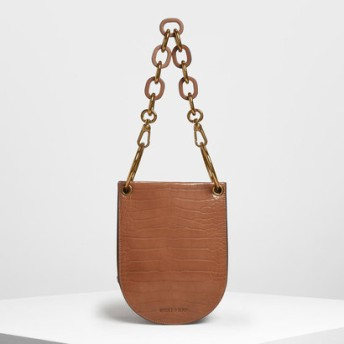 【2019 FALL 新作】クロックエフェクト チャンキーチェーンハンドルバッグ / Croc-Effect Chunky Chain Handle Bag(Tan)