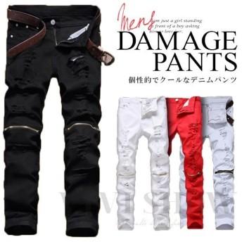 デニムパンツ クラッシュ ダメージ メンズ ストレート スキニー 細身 大きいサイズ ストレッチジーンズ