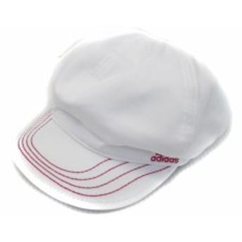 【中古】未使用品 アディダス adidas 帽子 キャップ キャスケット ワンポイント 刺繍 54~57 白 ホワイト /FF43 レディース