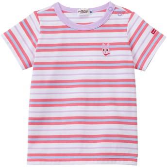 ミキハウス 【アウトレット】マルチボーダー半袖Tシャツ ピンク