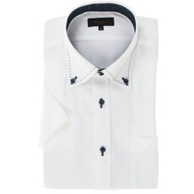 【m.f.editorial:トップス】形態安定スリムフィット ドゥエボットーニボタンダウンハンドステッチ半袖ビジネスドレスシャツ