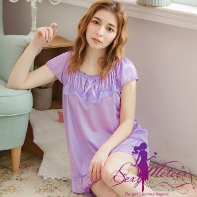 睡衣 全尺碼 冰絲蕾絲荷葉擺短袖二件式睡衣組(魅力淺紫) Sexy Meteor