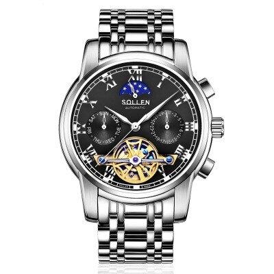 美琪 (簡約時尚)歐系鏤空陀飛輪全自動機械表기계식 시계夜光防水鋼帶手錶