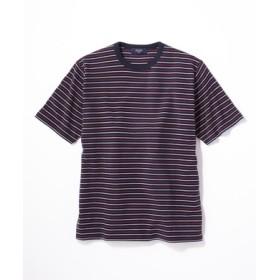 BACK NUMBER ストレッチ細ボーダー半袖Tシャツ メンズ ネイビー