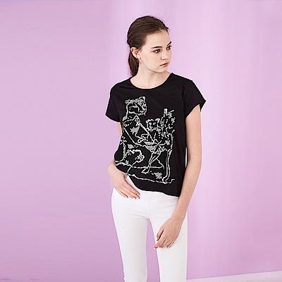 ICHE 衣哲 優質精美燙鑽圖案棉質圓領造型上衣-白