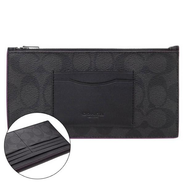 COACH防刮皮革 多卡層大手拿包/錢包/皮夾(黑灰)