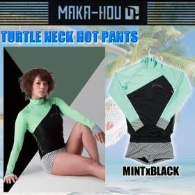 MAKA-HOU マカホー ラッシュガード レディース [25W03-61S]Turtle Neck with Hot Pants タートルネック一体型ホットパンツ women rash
