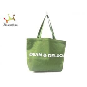 ディーンアンドデルーカ DEAN&DELUCA トートバッグ カーキ×白 ラメ キャンバス 新着 20190626