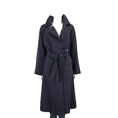 Max Mara 黑夜藍色綁帶羊駝毛長版大衣