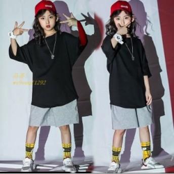 キッズ ダンス衣装 ヒップホップ 男の子 子供 女の子 体操服 HIPHOP ダンスパンツ 練習着 チア ステージ衣装 ダンス 黒Tシャツ ジャズダ