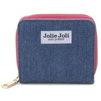 Jolie Joli ジョリージョリ 二つ折りラウンド財布 2017901-004 デニム レディース 財布 ブルー×ピンク