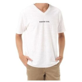 AZUL BY MOUSSY MENS/WISH刺繍スラブ天竺Vネック半袖Tシャツ オフホワイト