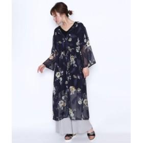 (LASUD/LASUD)[RADIATE ラディエイト] 花柄 袖スリット シアー ロングシャツ/レディース ネイビー 送料無料