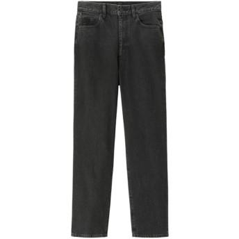 (GU)ハイウエストストレートジーンズ BLACK L