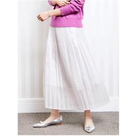 Perle Peche シャイニーシャンブレークリスタルプリーツスカート(ホワイト)