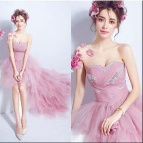 ウェディングドレス カラードレス 二次会 ロングドレス プリンセスドレス ミニドレス 結婚式 演奏会 披露宴 大きいサイズ スタイルが抜群