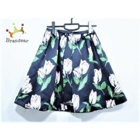 チェスティ Chesty スカート サイズ1 S レディース 美品 黒×白×マルチ 花柄  値下げ 20190905