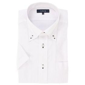 【TAKA-Q:トップス】形態安定レギュラーフィットボタンダウン半袖ビジネスドレスシャツ