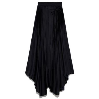 ミラオーウェン Mila Owen アシンメトリーヘムプリーツギャザースカート (ブラック)
