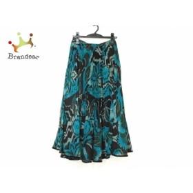 ヒロココシノ ロングスカート サイズ38 M レディース 美品 ブルーグリーン×黒×ライトグリーン 新着 20190626
