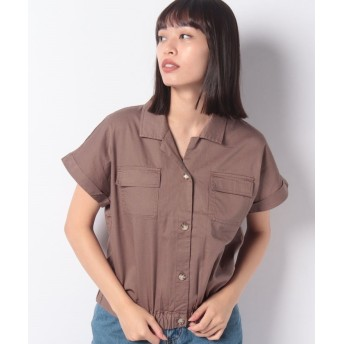 【40%OFF】 レトロガール ツイルWポケシャツ レディース ダークブラウン M 【RETRO GIRL】 【セール開催中】