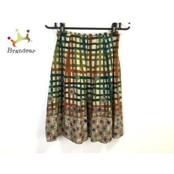 ホコモモラ スカート サイズ40 XL レディース グリーン×ブラウン×ライトグリーン チェック柄 新着 20190622