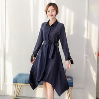 レディース ワンピース トレンド 無地 カジュアル 韓國ファッション 人気 気質