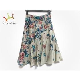 フランコフェラーロ スカート サイズ2 M レディース 美品 ベージュ×ネイビー×マルチ 花柄  値下げ 20190912