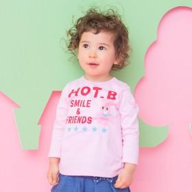 ミキハウス ビーンズくん&キャビットちゃん長袖Tシャツ ピンク