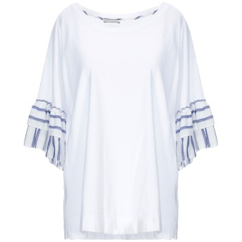 《期間限定 セール開催中》BLUKEY レディース T シャツ ホワイト 46 コットン 100% / レーヨン / 麻