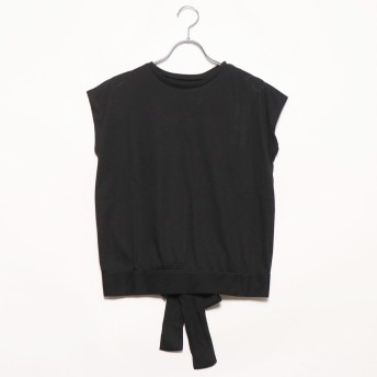 スタイルブロック STYLEBLOCK 二重地天竺バックリボンTシャツ (ブラック)