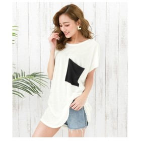ANAP ビッグポケットゆるTシャツ ホワイト/ブラック