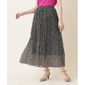 Couture Brooch(クチュールブローチ) 【WEB限定販売/手洗い可】INNOWAVE(イノウェーブ)変形ドットシフォンプリーツロングスカート