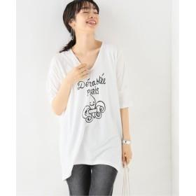 IENA Devastee BIG VネックTシャツ ホワイト フリー