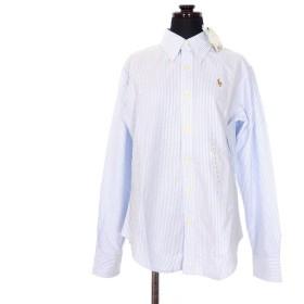 【中古】未使用品 ラルフローレン RALPH LAUREN CLASSIC FIT ポニー刺繍 ボタンダウン ストライプ シャツ ブラウス コットン 長袖 4 ホワイト/ライトブルー 白