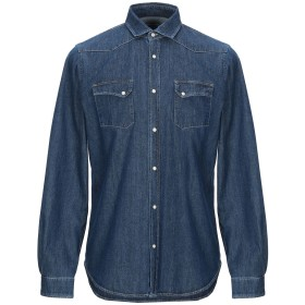 《送料無料》BORSA メンズ デニムシャツ ブルー 41 コットン 100%