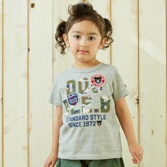 ミキハウス ロゴプリント半袖Tシャツ グレー